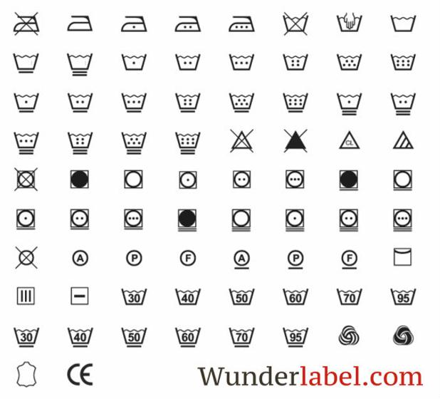 laundry label symbols for printed labels
